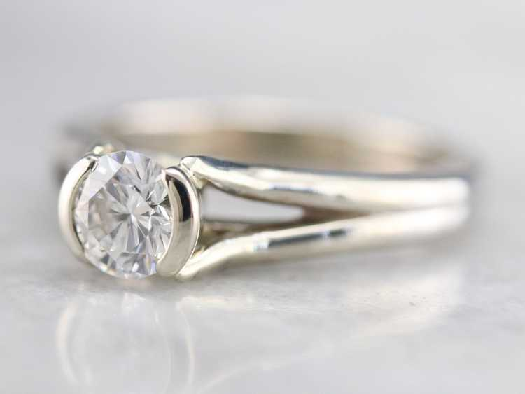 White Gold Diamond Solitaire Ring - image 3