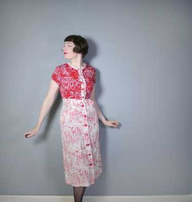 40s RED WHITE NOVELTY DRESS AND BOLERO IN PARISIA… - image 1
