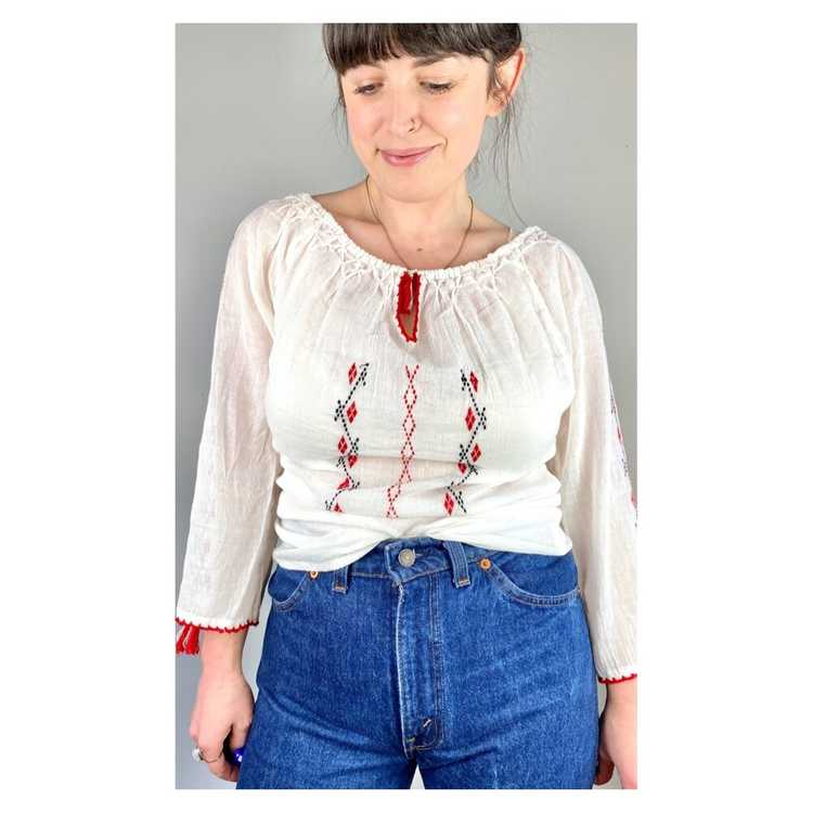 Hungarian Embroidered Vintage Blouse - image 1