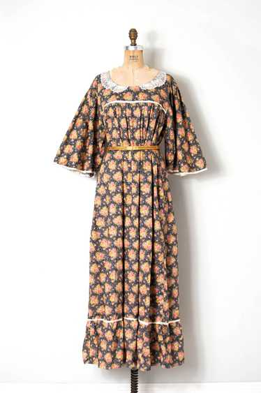 1970s Liberty Print Cotton Maxi Dress | open size