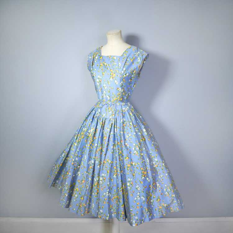 50s BLUE FULL SKIRTED DRESS BY RODNEY IN RED AND … - image 12
