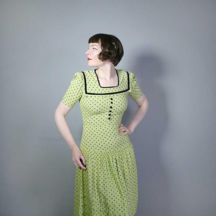 30s 40s LIME GREEN AND BLACK POLKA DOT TEA DRESS … - image 2
