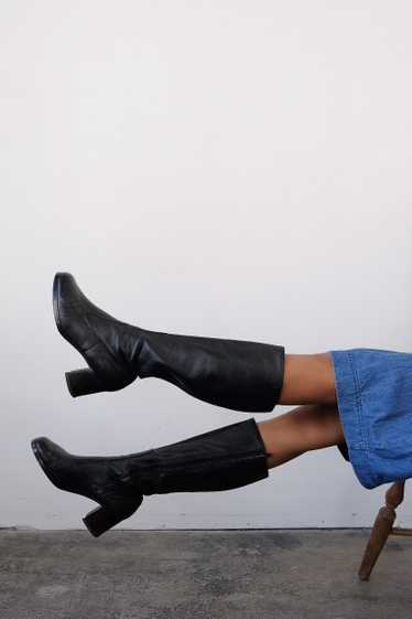 1970s Black Leather Tall Boots | 8 1/2