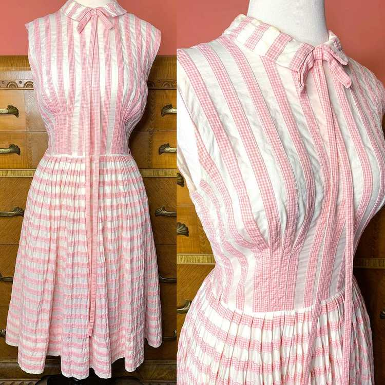 1950s Suzy Perette Pink Gingham Dress - image 1