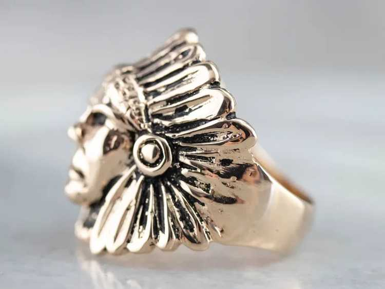 Native American Chief Statement Ring - image 3