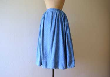 Antique calico skirt . vintage blue print skirt