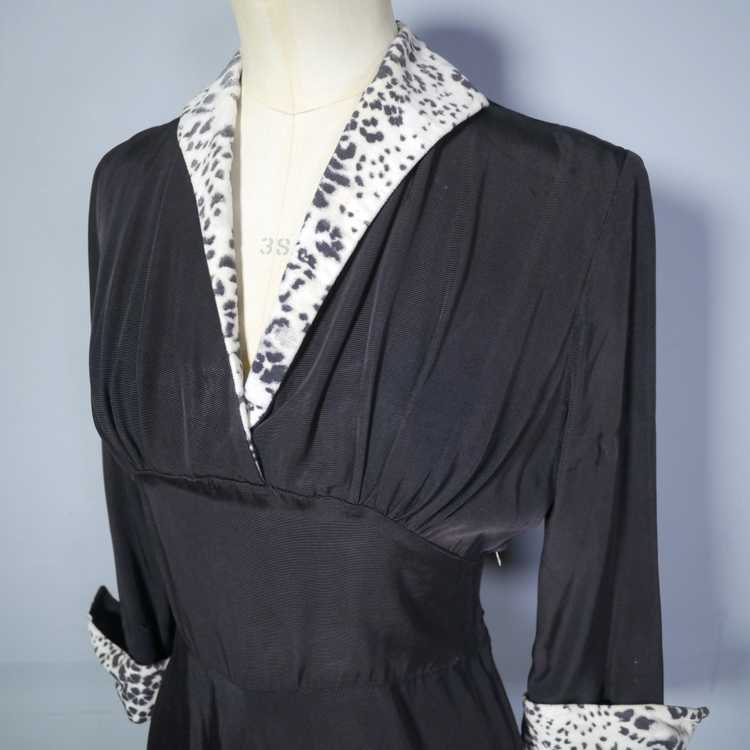 "40s 50s BLACK RAYON ""BICKLER"" DRESS WITH LEOPARD … - image 10"