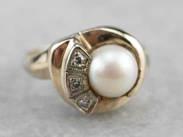 Vintage Pearl and Diamond Ring - image 1
