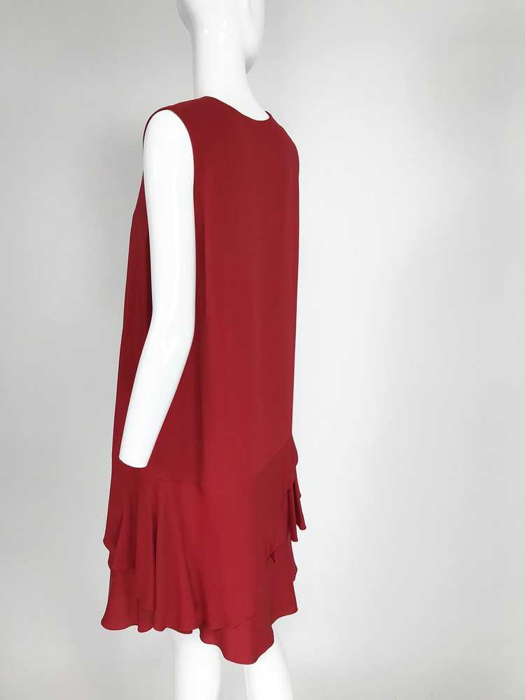 Lanvin Cherry Red Silk Blend Crepe Chemise Dress - image 4