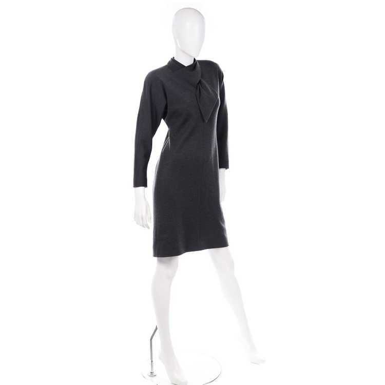 1970s Vintage William Travilla Charcoal Gray Dres… - image 7