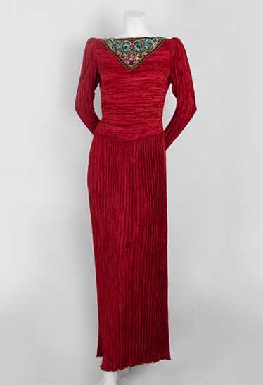 Mary McFadden pleated evening dress, c.1980