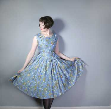 50s BLUE FULL SKIRTED DRESS BY RODNEY IN RED AND … - image 1