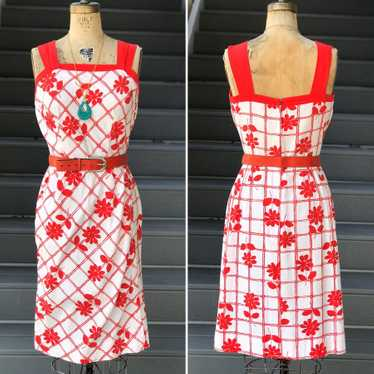 1960s Nelly Don Red and White Daisy Dress