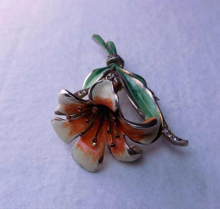 Early REJA Lily brooch pin 1940's - image 4