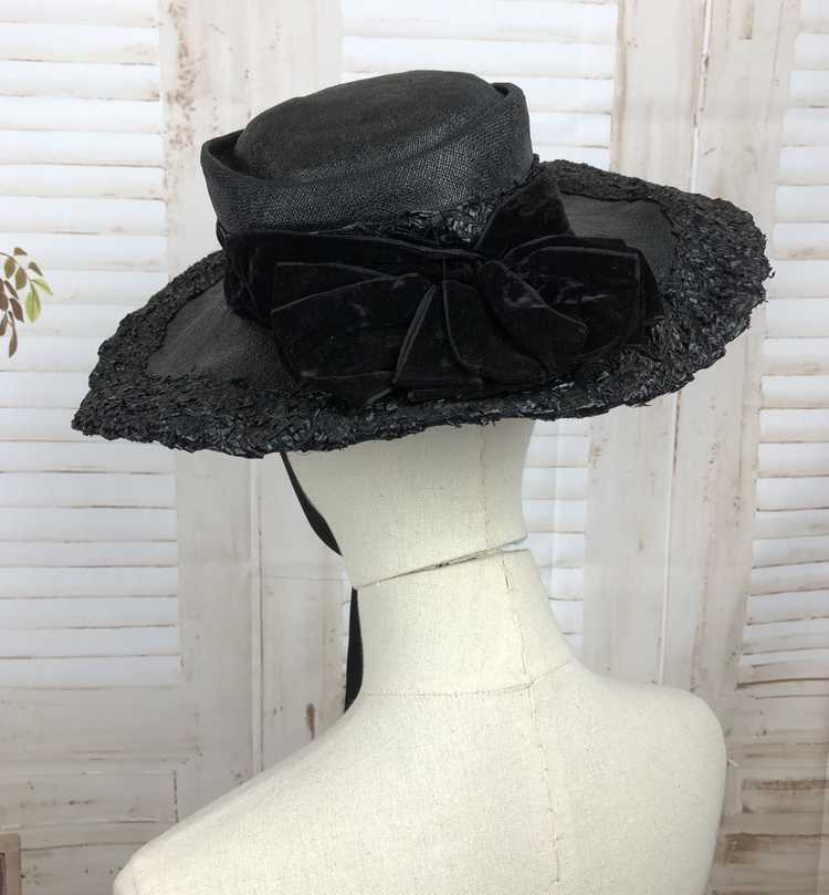 Original 1930s 30s Black Straw And Velvet Wide Br… - image 8