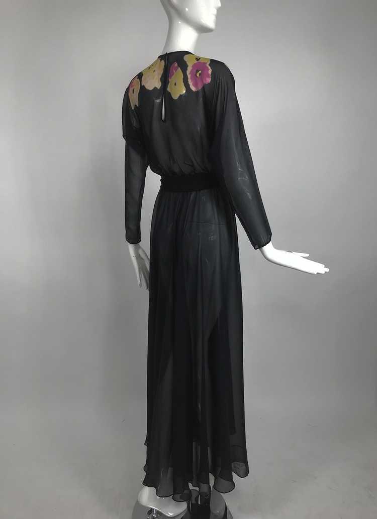 Vintage 1930s Floral Print Bias Cut Black Silk Ch… - image 7