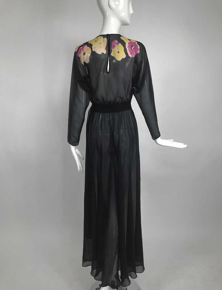 Vintage 1930s Floral Print Bias Cut Black Silk Ch… - image 6