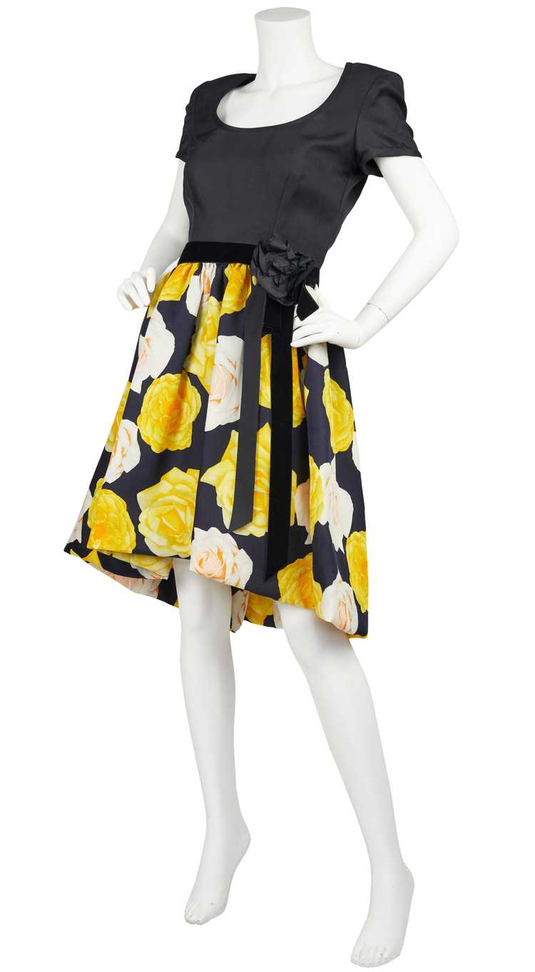 1980s Couture Rose Print Full Skirt Cocktail Dress - image 4