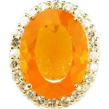20CT Natural Mexican Fire Opal and Diamond Ring in