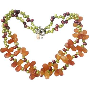Colorful Freshwater Pearls, Carnelian and Sterlin… - image 1