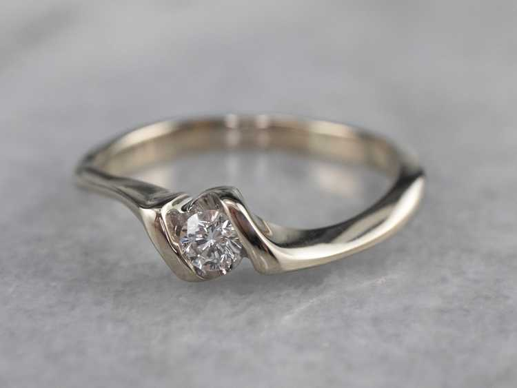 Diamond White Gold Solitaire Ring - image 3