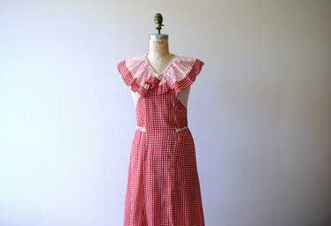 1930s dress . vintage 30s red and white deco print