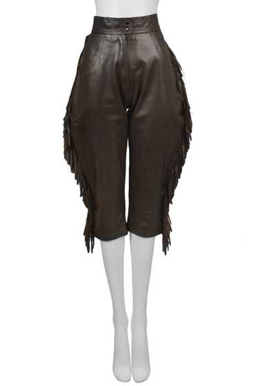 YSL BROWN LEATHER FRINGE JODPUR KNICKERS