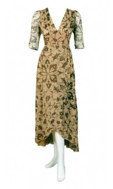 1970's Thea Porter Gold Beige Print Smocked Silk-C