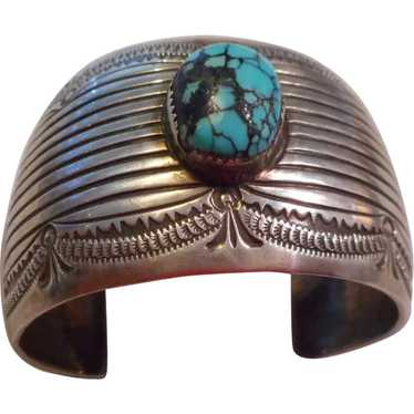 Sterling Silver Spiderweb Turquoise Signed Bracele