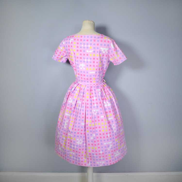 """50s 60s """"BANNER"""" PINK COTTON DAY DRESS WITH PASTE… - image 12"""