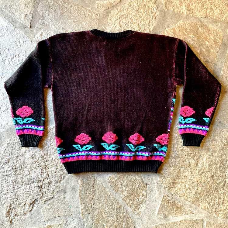 Vintage Huber Sportmoden Floral Striped Skirt Lined Size 42 1980s West Germany Roses Pastels