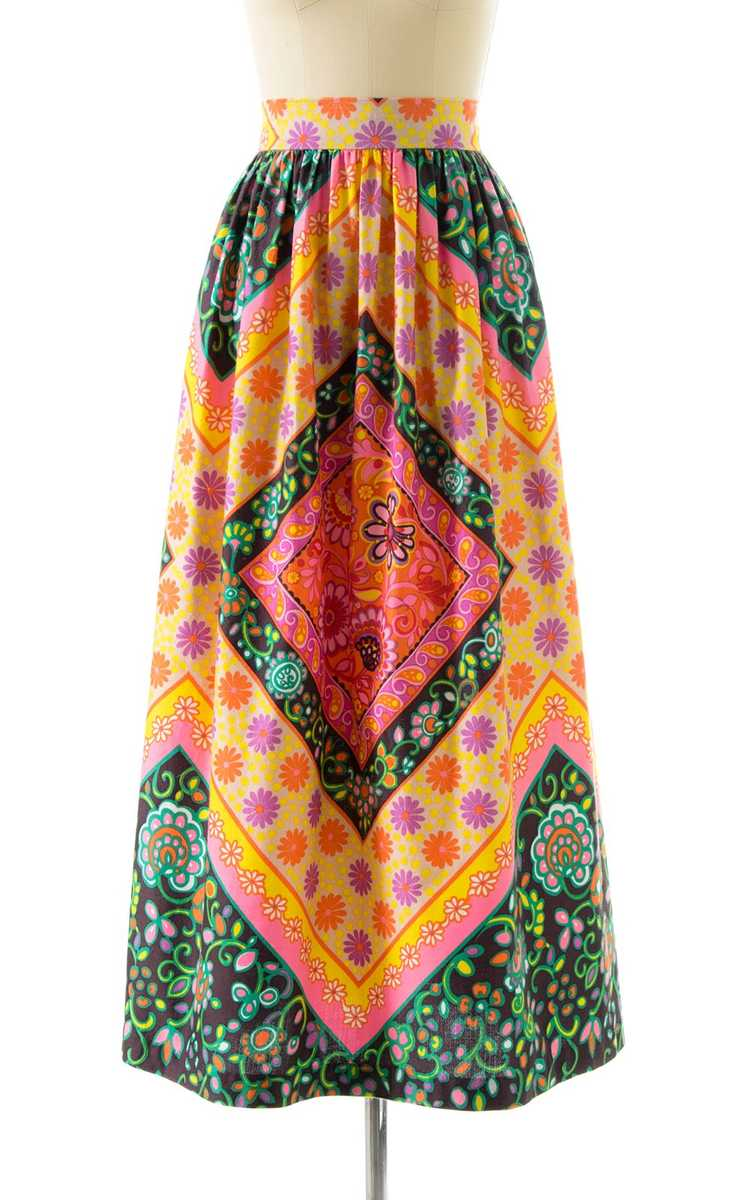 NEW ARRIVAL || 1960s Floral Geometric Maxi Skirt … - image 1