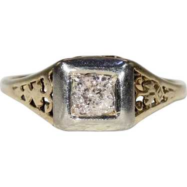 Vintage Gold Diamond Solitaire Ring - image 1