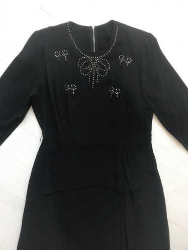 1940s Studded Black Crepe Rayon Dress