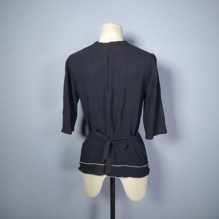 40s BLACK CREPE BLOUSE WITH WHITE PIPING AND STUD… - image 7