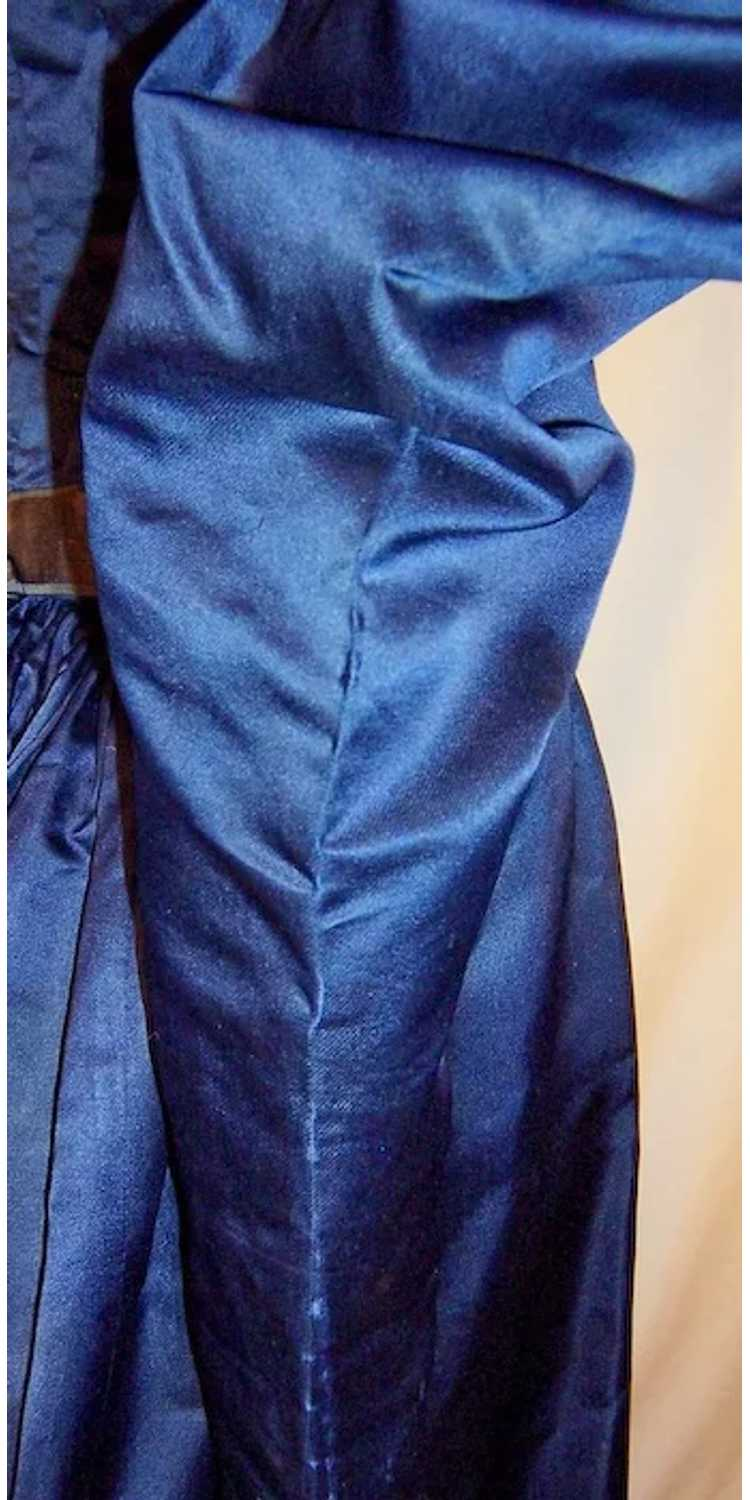 Vivid Navy Victorian (1890's The Gilded Age) Silk… - image 9