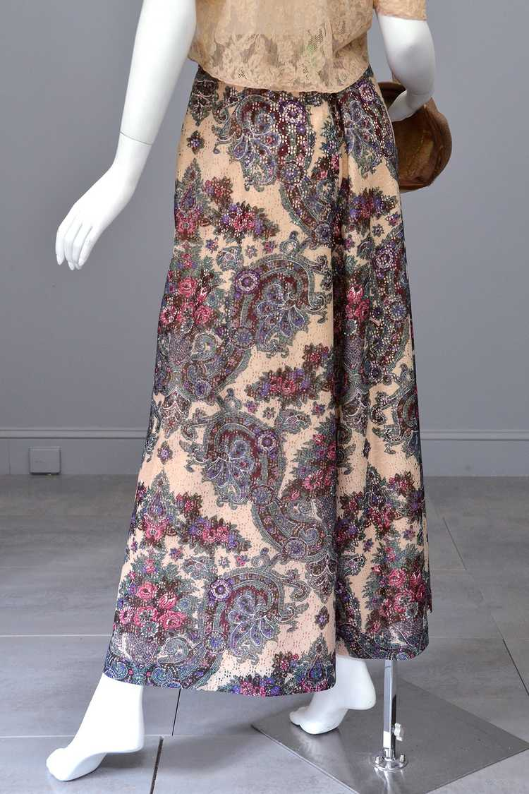1970s Lacey Floral Print Palazzo Pants - image 2