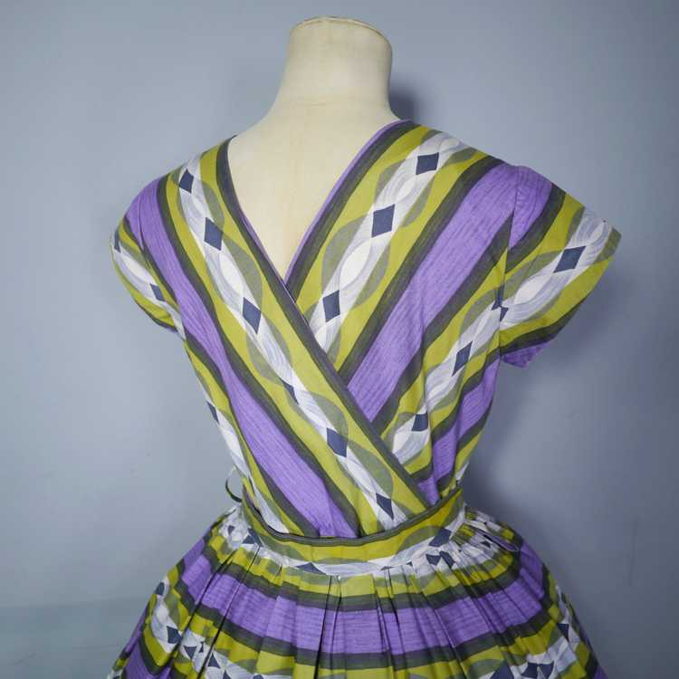 50s MID CENTURY PRINT PURPLE AND LIME STRIPED DOU… - image 9