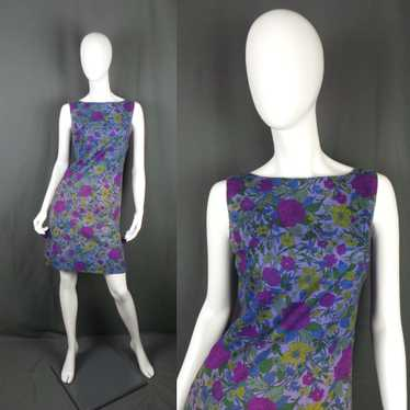 1960s Purple Wild Flower Mini Shift Dress, designe