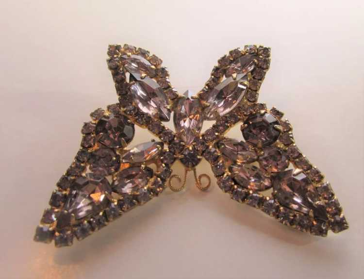 Vintage Dusty Rose Crystal Butterfly - image 7