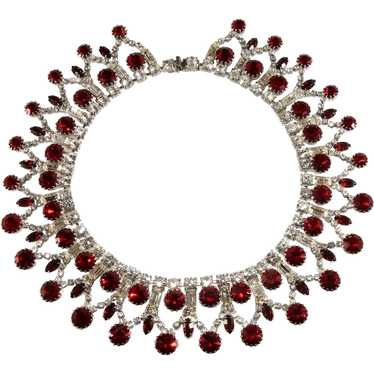 Dominique Necklace Collar Red Clear Rhinestones St