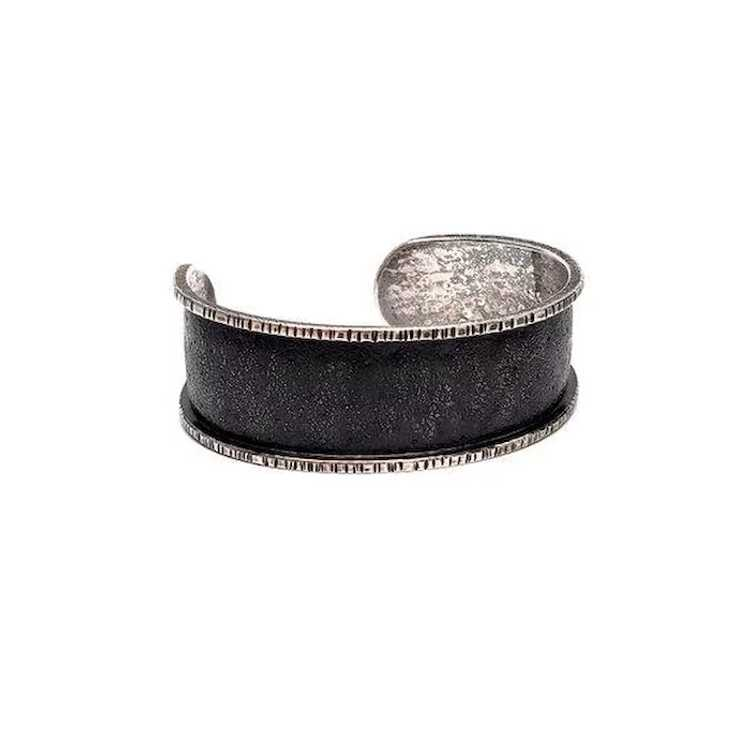 Davide Bigazzi Oxidized Sterling Silver Chased Cu… - image 4