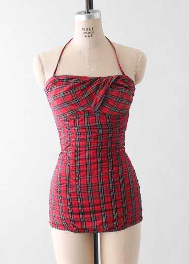 Vintage 1950s Jantzen Red Plaid Pin Up Swimsuit