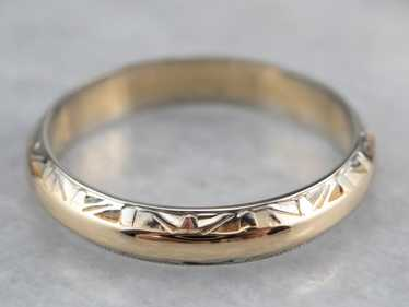 Two Tone Gold Patterned Band