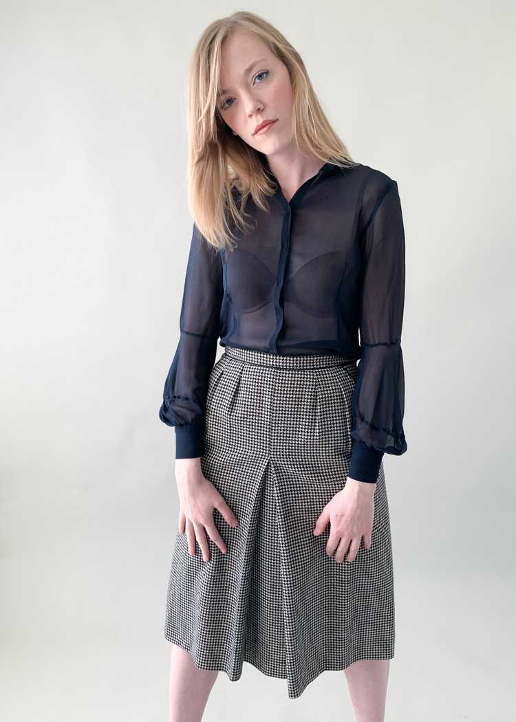 Vintage 1970s Yves Saint Laurent Houndstooth Skirt - image 1