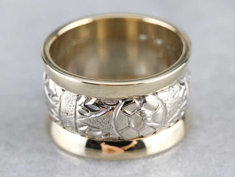 Patterned Two Tone Gold Wide Band - image 2