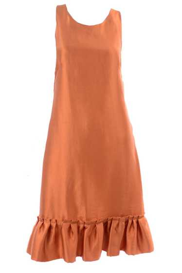 Moschino Orange Tent Dress w/ Ruffled Hem & Back B