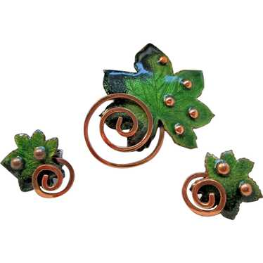 """Matisse Forest Green Enamel """"Leaf"""" Pin Brooch and"""