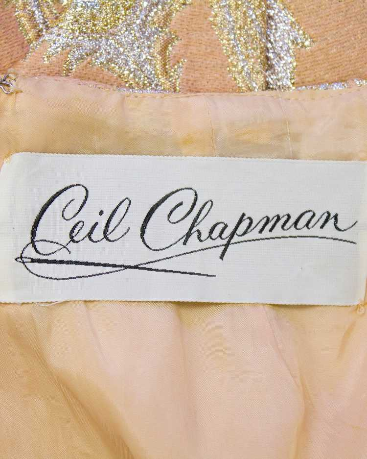 Ceil Chapman Pink and Metallic Brocade Gown - image 5