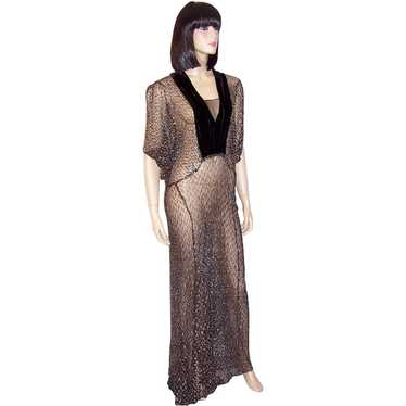 1930's Black & Silver Metallic Lace Gown with Vel… - image 1
